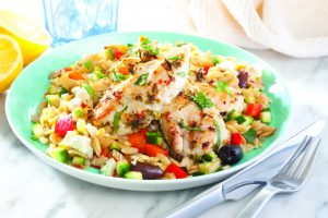 Grilled chicken on lemony orzo
