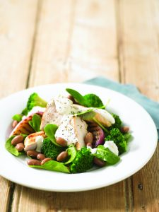 Grilled chicken salad with yoghurt dressing
