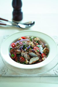 Grilled chicken with brown lentil salad