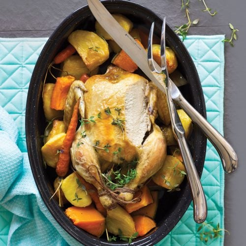 Step-by-step reduced-fat roast chicken