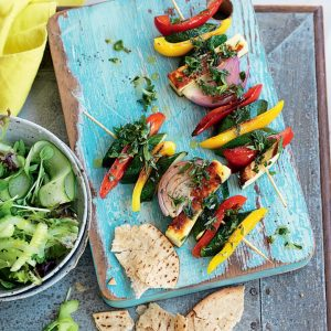 Haloumi, courgette and capsicum kebabs