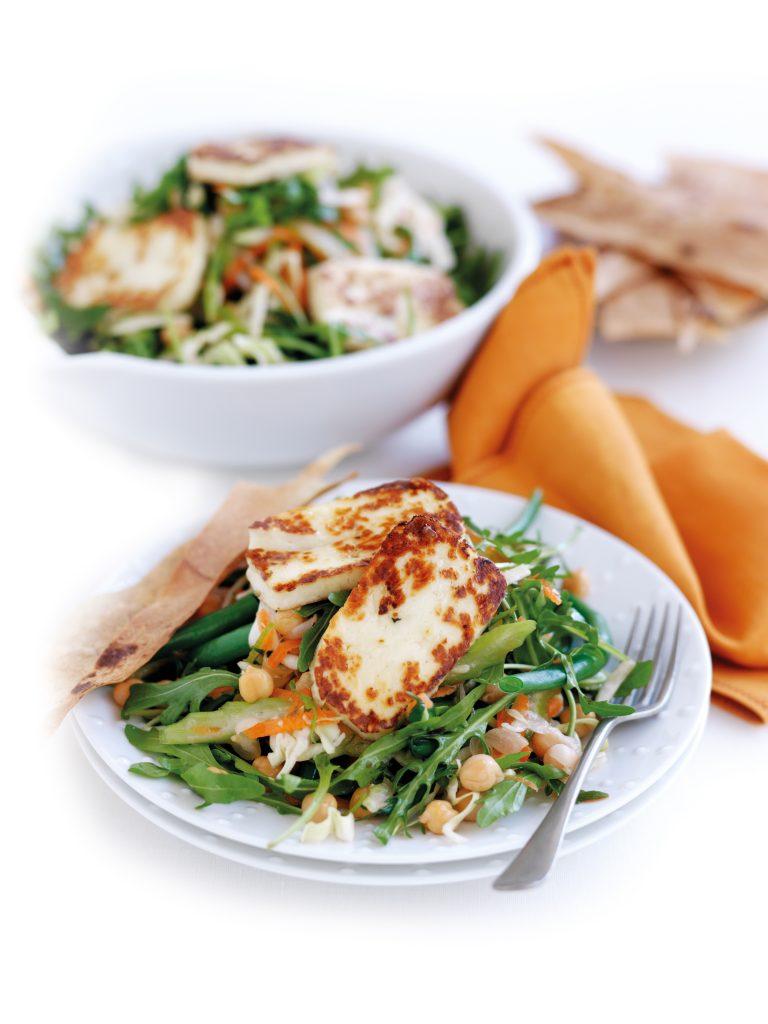 Haloumi, rocket and chickpea salad