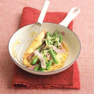 Ham and asparagus omelette