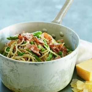 Ham and spring vegetable spaghetti
