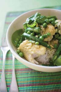 Healthy green fish curry