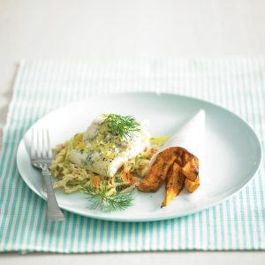 Herbed fish parcels with kumara wedges and coleslaw