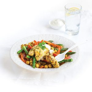Herby chicken and chickpeas with asparagus