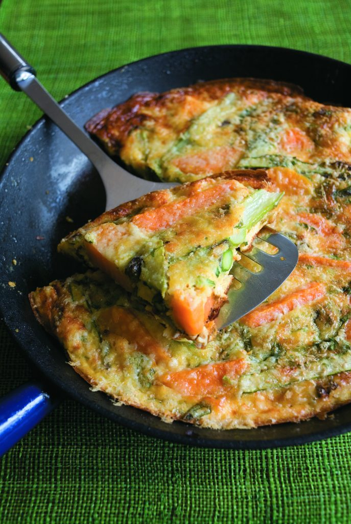 Herby frittata with asparagus and cheddar