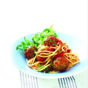 Herby meatballs with spaghetti and tomato sauce