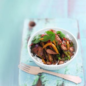 Hoisin pork and vege stir-fry