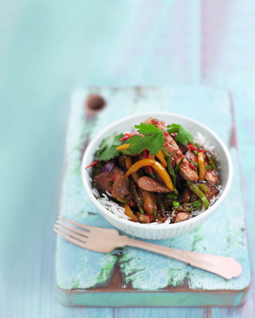 Hoisin pork and vege stir-fry
