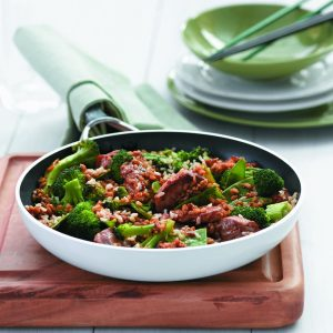 Hoisin pork stir-fry with quick rice