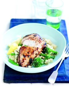 Honey and thyme roasted chicken with couscous