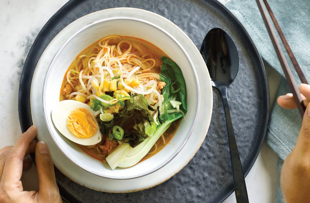 Hot miso ramen soup