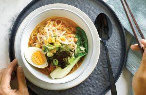 Hot miso ramen soup