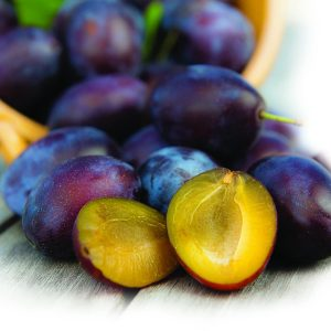 In season early summer: Yellow-fleshed plums