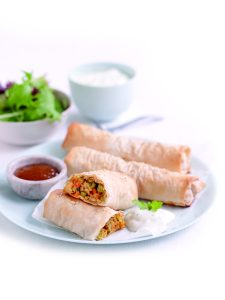 Indian-spiced vegetable and cheese parcels