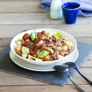 Italian pulled beef with pasta