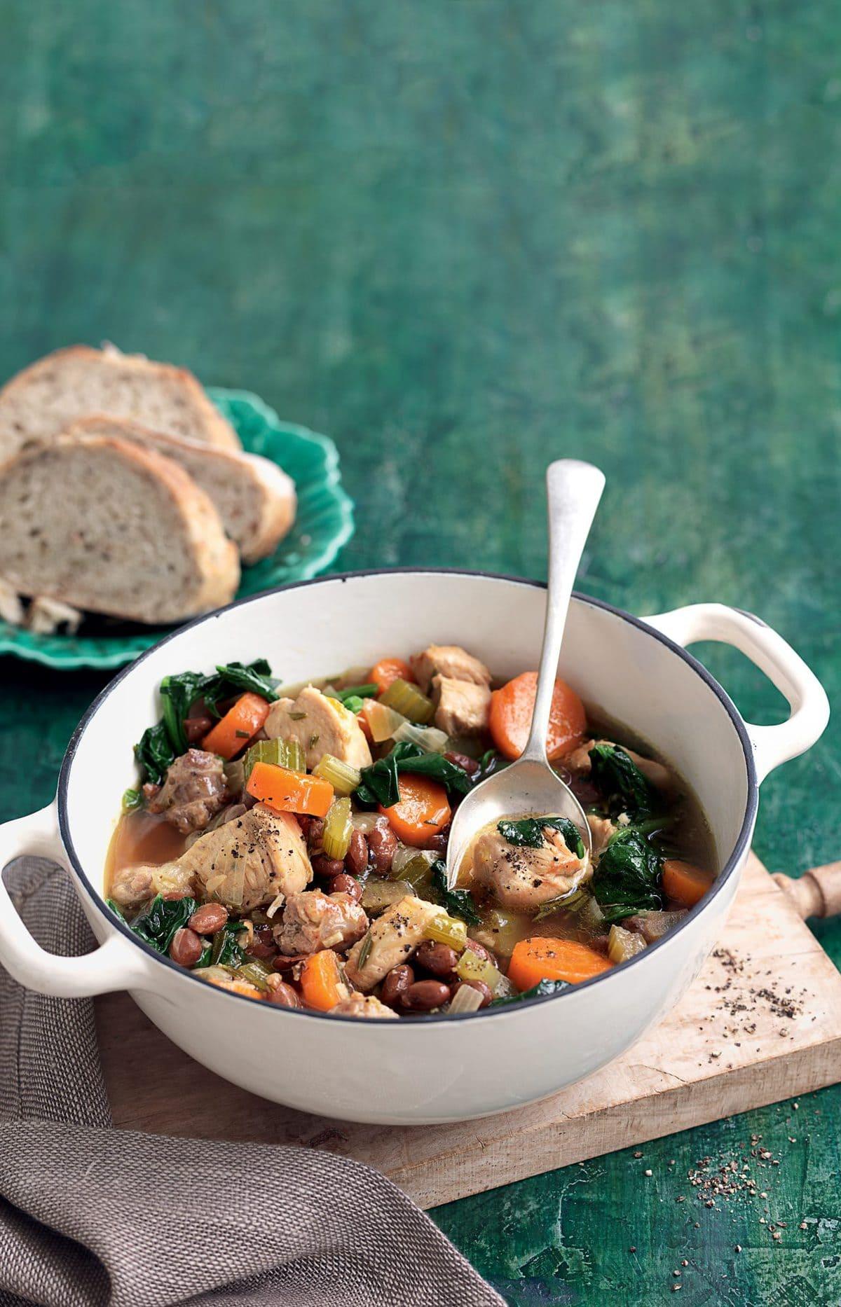 Italian-style chicken and borlotti bean stew
