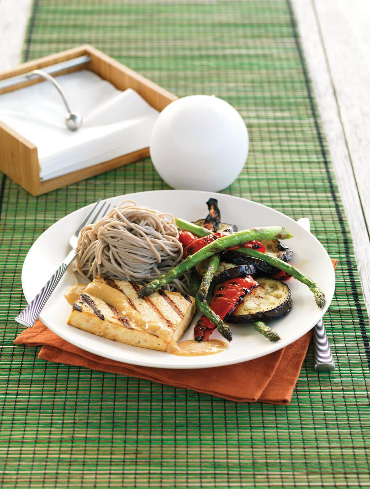 Japanese-style tofu with grilled vegetables, miso and soba ...