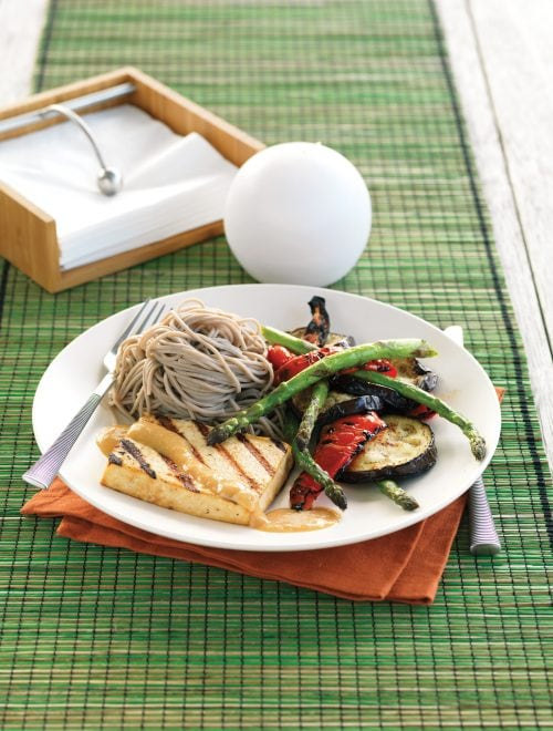 Japanese-style tofu with grilled vegetables, miso and soba noodles