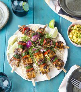 Jerk spiced tofu and vege kebabs on brown rice