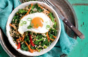 Kale and broccolini rice with fried egg