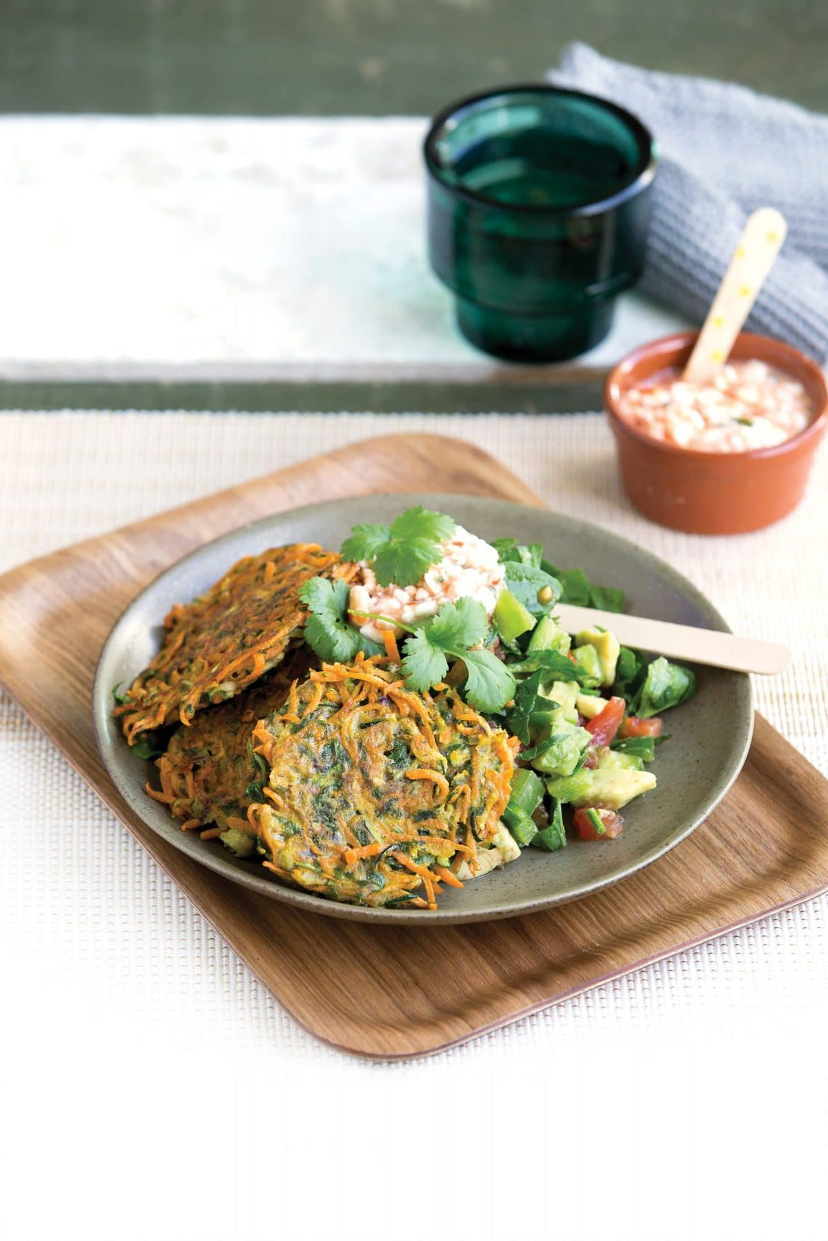 Kumara and courgette fritters with avocado salsa