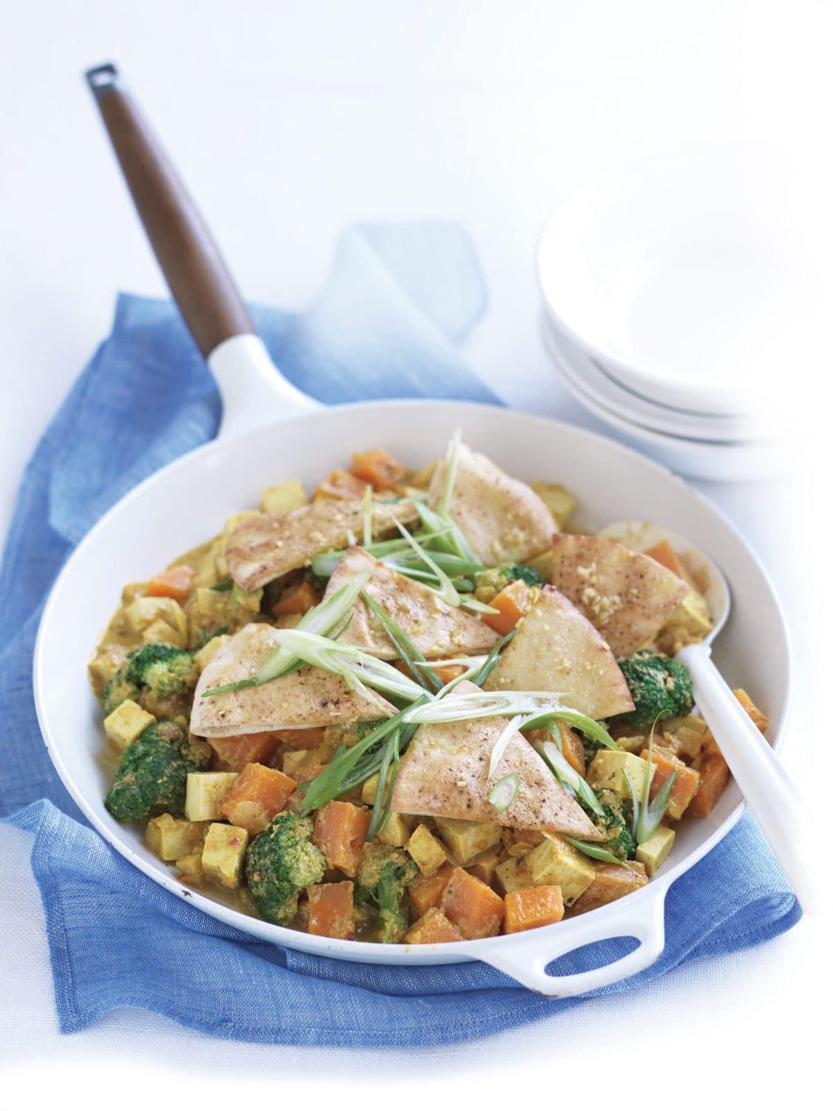 Kumara, broccoli and tofu curry