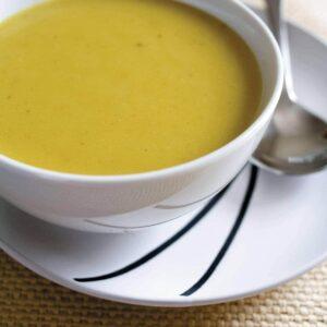 Kumara, coriander and lemongrass soup