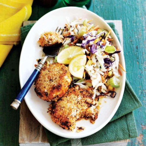 Kumara fish cakes with slaw