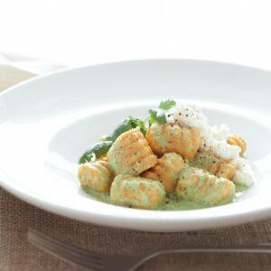 Kumara gnocchi with coriander sauce