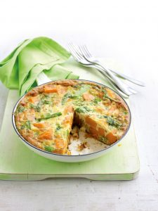 Kumara, rocket and asparagus frittata