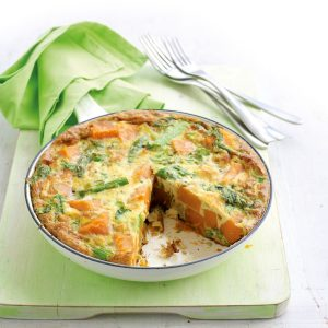 Kumara, rocket and asparagus frittata