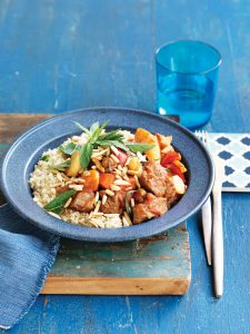 Lamb and vegetable tagine with mint couscous