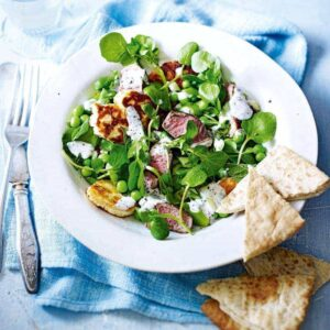 Lamb, haloumi and pea salad with yoghurt dressing