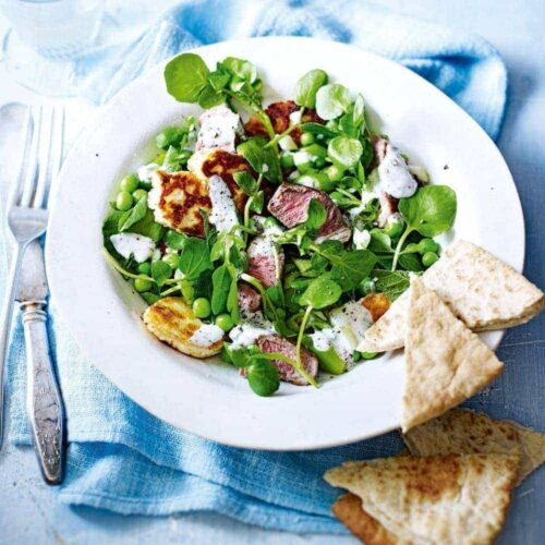 Lamb, haloumi and pea salad with yoghurt dressing