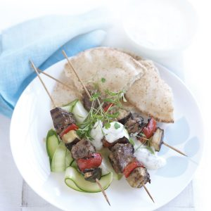 Lamb kebabs with courgette salad