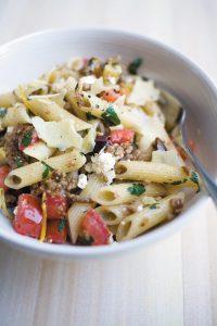 Lamb, lemon and olive pasta