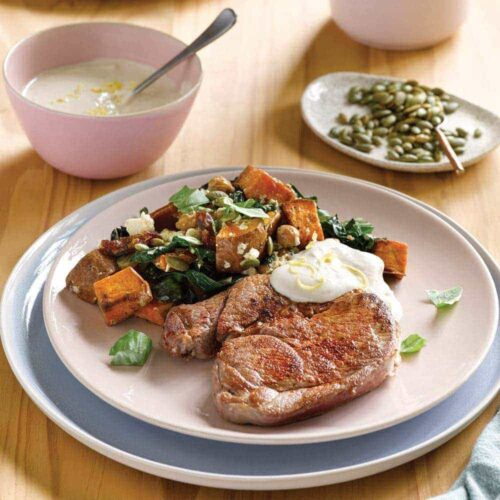 Lamb with chickpea, date and feta salad and tahini yoghurt