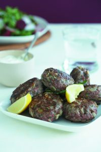 Lamb and parsley rissoles with beetroot salad