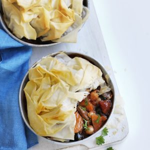 Lamb and silver beet filo pies