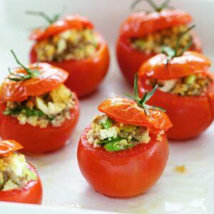 Lamb, feta and couscous-stuffed tomatoes
