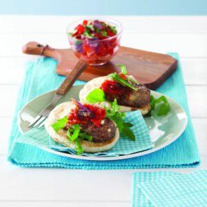 Lamb koftas with roasted vege salsa