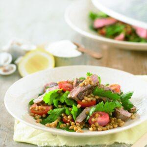 Lamb, lentil and cherry tomato salad
