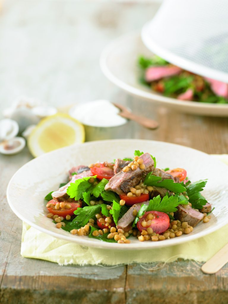 Lamb, lentil and cherry tomato salad