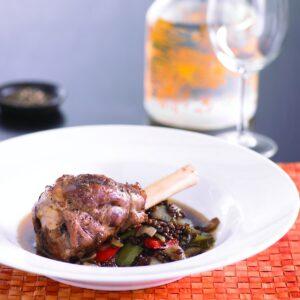 Lamb shank, capsicum and lentil casserole