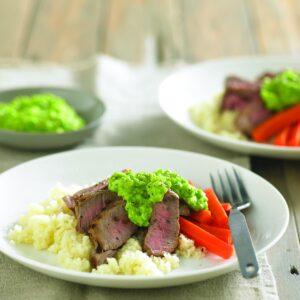 Lamb steak with pea hummus
