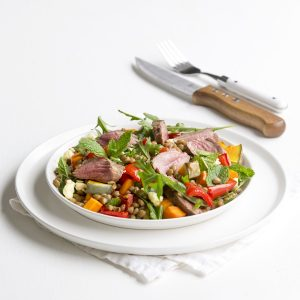 Lamb with lentil and mint salad