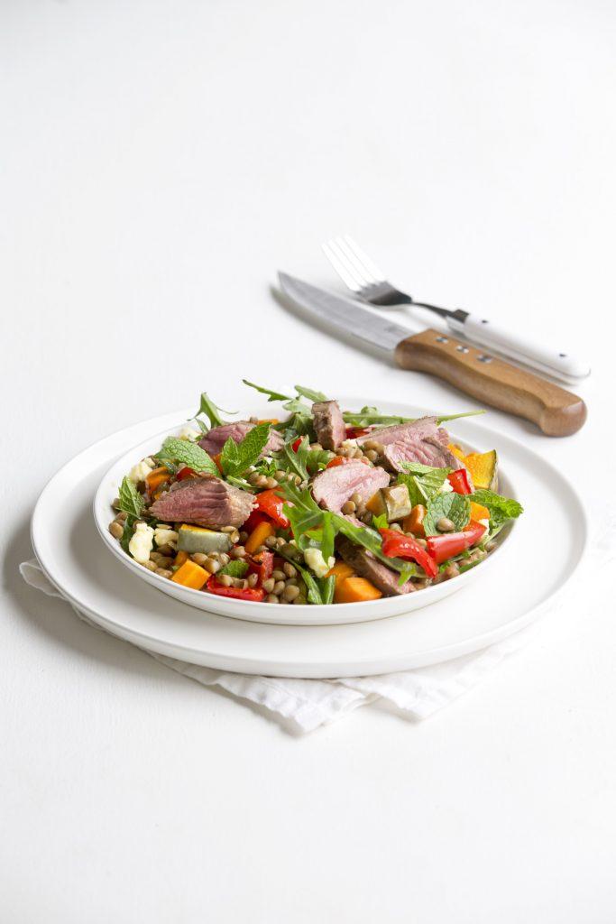 Lamb with lentil and mint salad